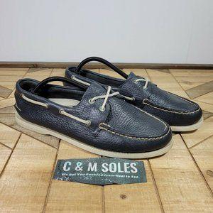 Sperry Top Sider Men's A/O 2-Eye Navy Boat Shoe Tru Moc Pebbled Leather